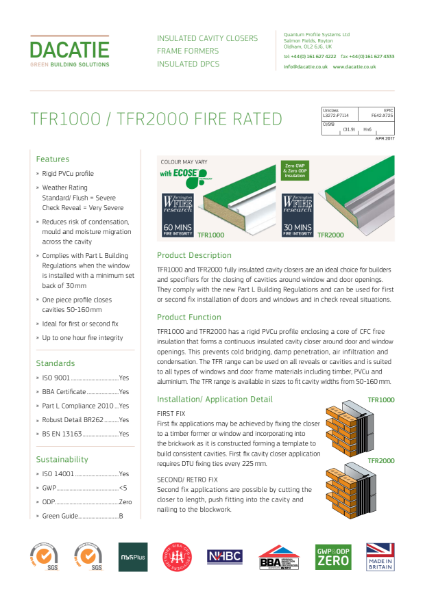 Fire Rated Cavity Closer + Fire Rated Cavity Fire Barrier (100 to 150mm Cavities) Data Sheet