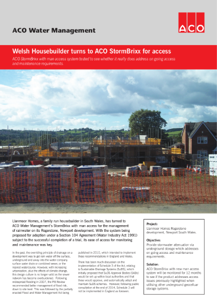Welsh Housebuilder turns to ACO StormBrixx for access