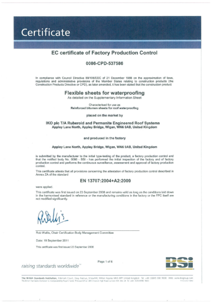 CE Marking Certificate - Flexible Sheets of Waterproofing