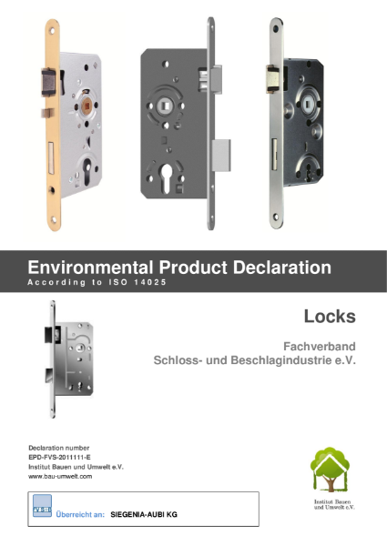 Environmental product declaration ISO 14025 locks