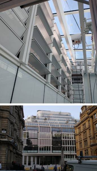 Smart automated louvres for natural and smoke ventilation at Sixty London Wall.