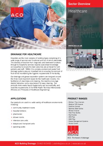 ACO Building Drainage - Healthcare Brochure