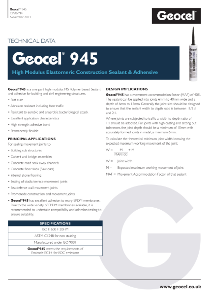 Geocel 945 High modulus elastomeric construction sealant & adhesive