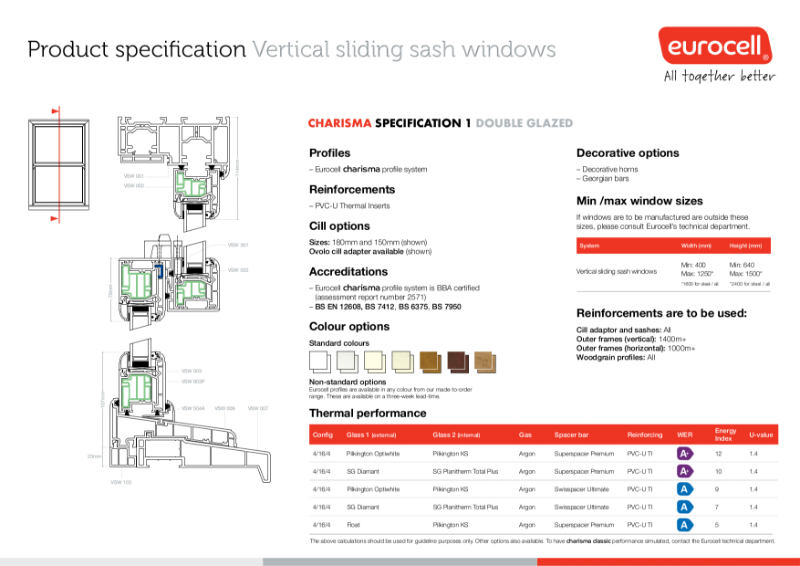 Charisma Vertical Slider Windows Thermal Inserts Product Specification