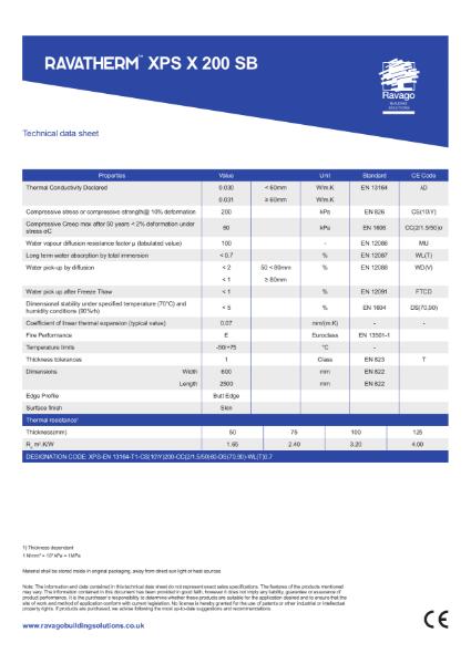 Ravatherm XPS X 200 SB Technical Data Sheet