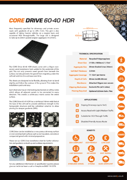 CORE DRIVE 60 40 HDR Specification Sheet