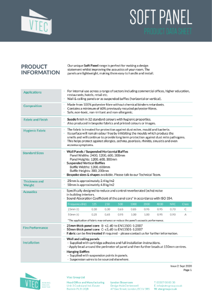Soft Panel - Fabric Acoustic Panels - Data Sheet