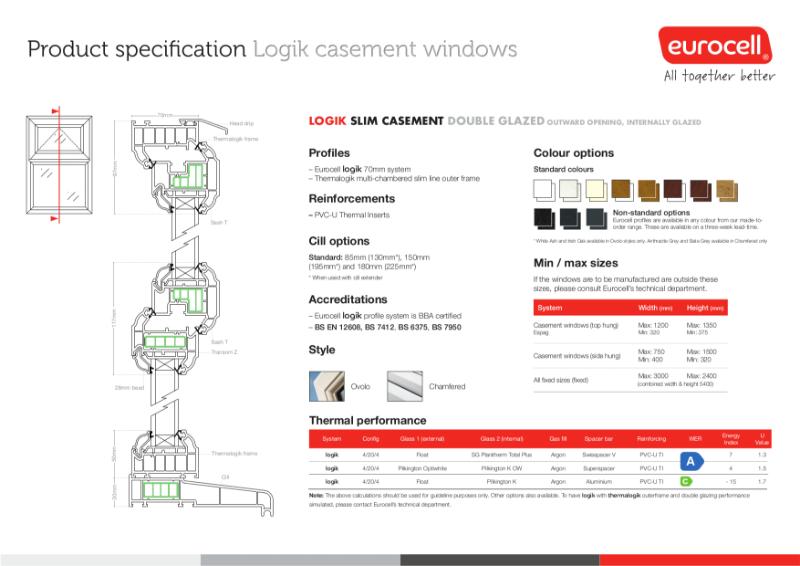 Logik Casement DG Slim Window Product Specification