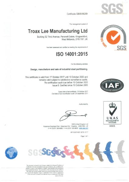 BS EN ISO 14001:2015 Certificate
