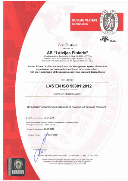 ISO 50001:2012 Certificate