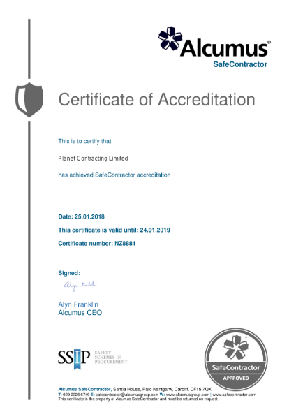 SafeContractor Certificate of Accreditation  Exp 24 01 20