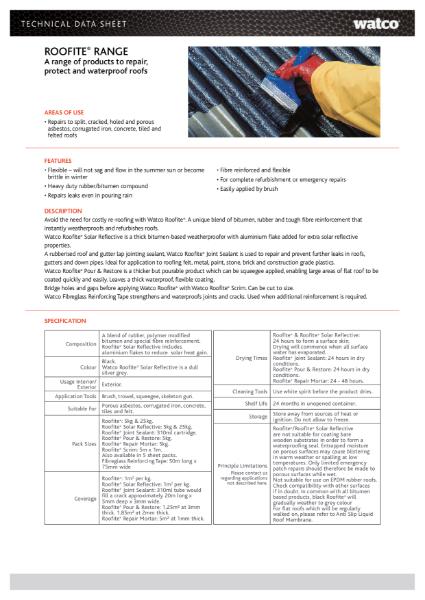 Data Sheet: Roofite Range