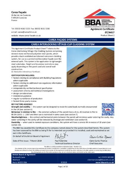 07/4417 Carea Interlocking Vêtage-Clip Cladding System
