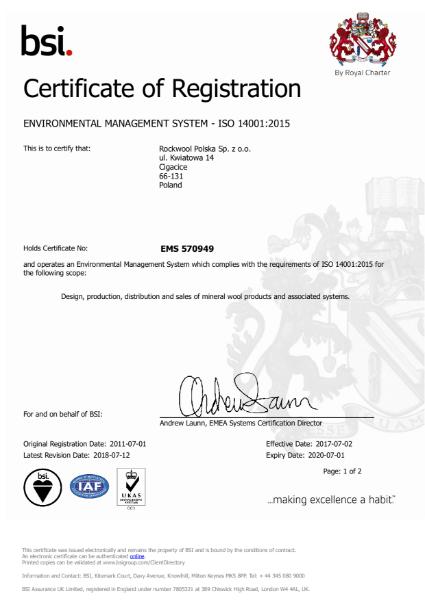 Rockfon ISO14001 Certificate