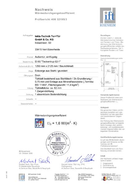 T60-2 FSA 62 Thermal Insulation Test