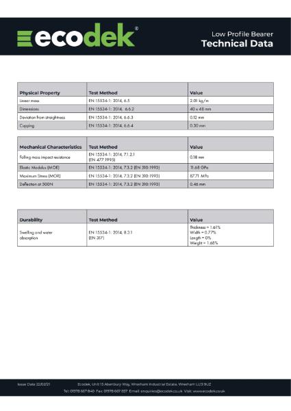 Ecodek Low Profile Bearer Technical Data Sheet