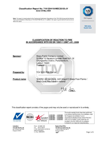 SHERA   A2-S1, D0 Fire Test Certificate