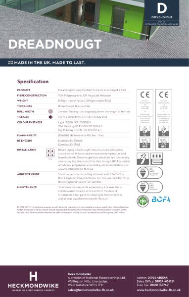 Specification Sheet - Dreadnought Entrance & Transition Carpet