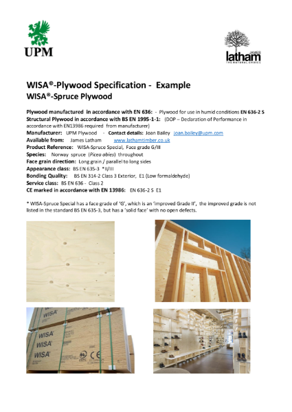 Plywood - Architects' Specification Guide Sheet