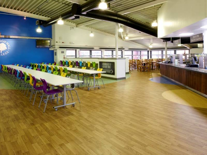 Polyflor adds colour to Hopwood Hall College refectory