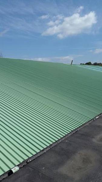 Metal roof coating project in Leicestershire
