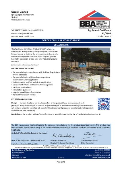 Cordek Cellcore HX BBA Certificate