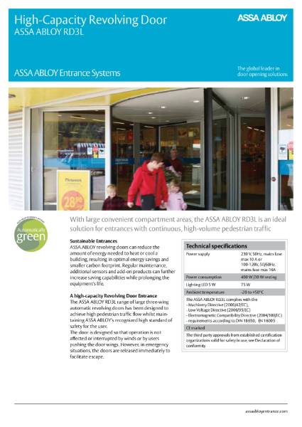 Automatic Revolving Door - High Capacity - ASSA ABLOY RD3L