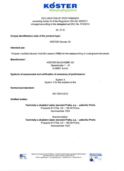 Koster Deuxan 2C Declaration of Performance