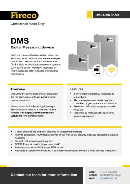 DMS (Digital Messaging Service) Technical Data Sheet
