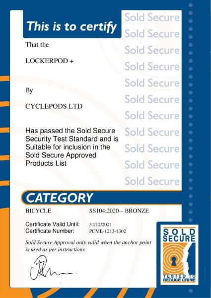 Sold Secure Bronze Approval - Lockerpod+ Bronze