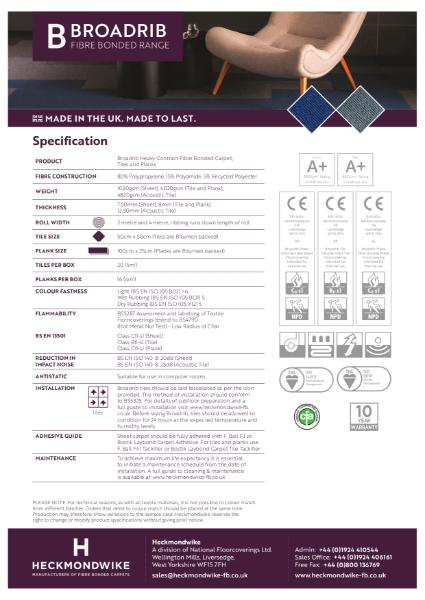 Heckmondwike - Broadrib - Specification Sheet