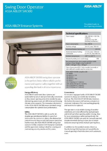 Automatic Swing Door - ASSA ABLOY SW300 Universal Swing Door Operator