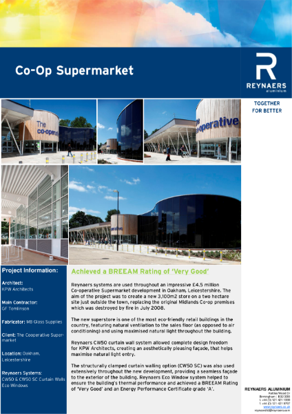 Case Study: The Cooperative Supermarket, Reynaers CW 50 aluminium curtain wall