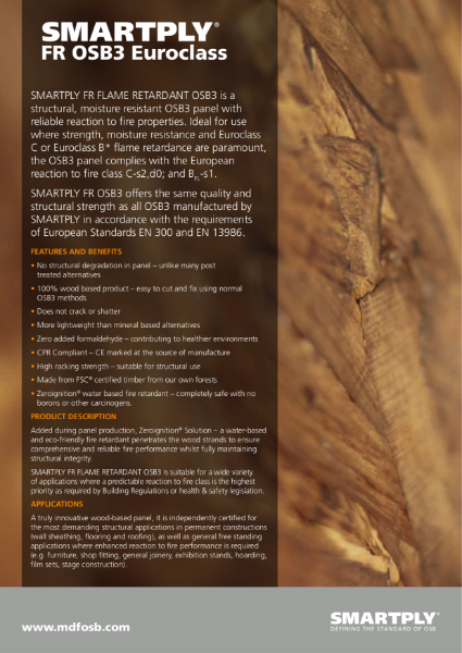 SMARTPLY FR (Flame Retardant) OSB3 - Flame retardant, structural OSB3 panel