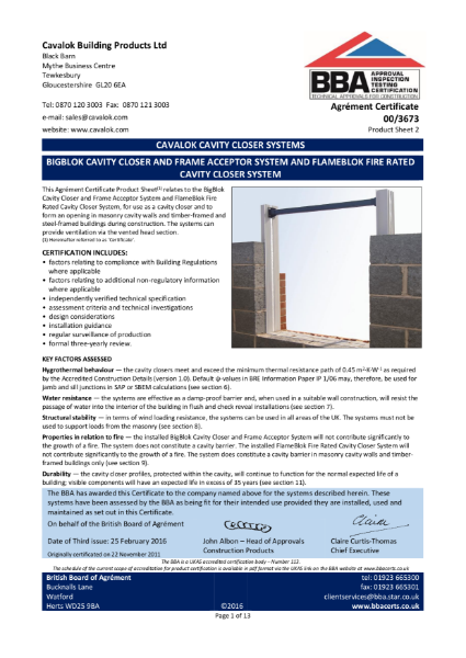 BIGBLOK CAVITY CLOSER AND FRAME ACCEPTOR SYSTEM AND FLAMEBLOK FIRE RATED