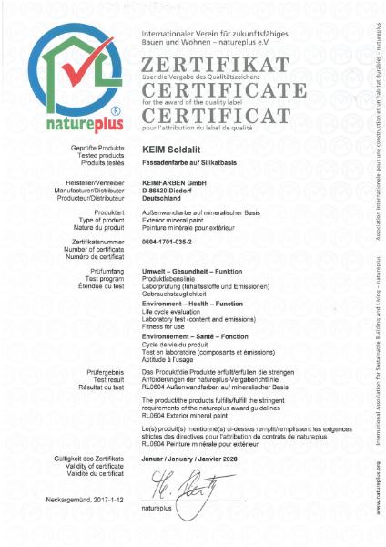 Keim Soldalit Nature Plus Certificate