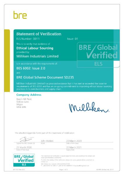 BRE Ethical Labour Sourcing Verification