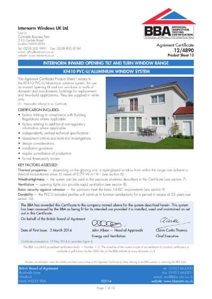 12/4890 BBA Certification Internorm KF410 Upvc frame aluminium clad window.