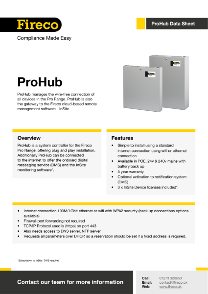 ProHub Technical Data Sheet