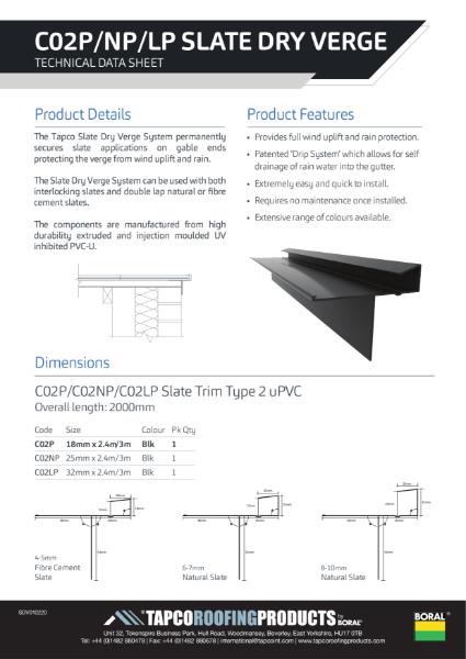 Tapco Dry Verge Data Sheet