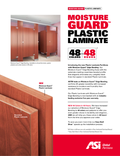 Plastic Laminate Moisture Guard Cubicles