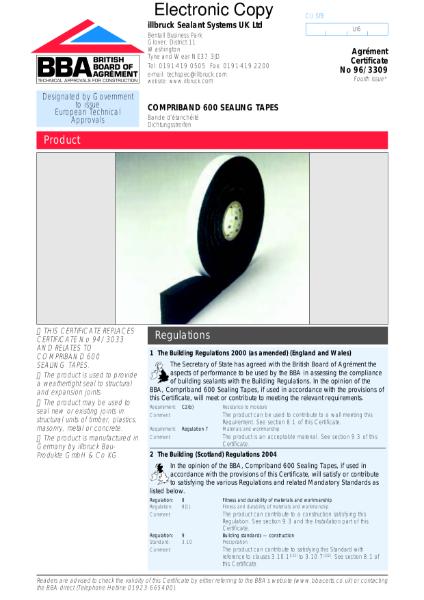 96/3309 Compriband 600 sealing tapes