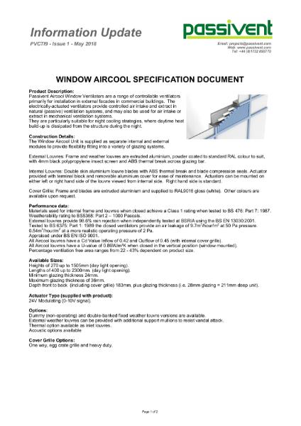 Passivent Specification Document - Aircool Window Ventilator - Standard version
