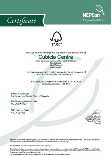 FSC Chain of Custody Certificate