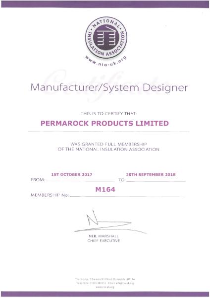 PermaRock National Insulation Association System Designer Membership Certificate