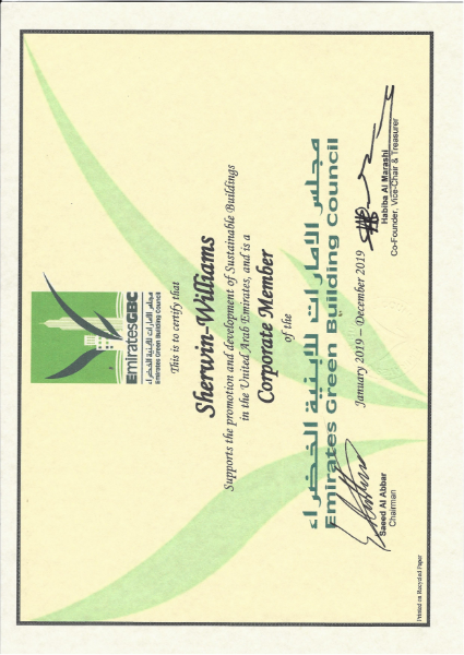 Sherwin-Williams standards certification - Emirates Green Building Council