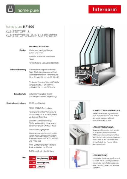 UPVC Aluminium Window KF500 Home Pure Data Sheet