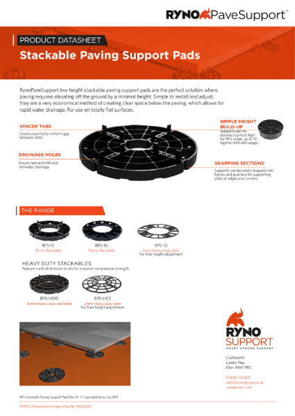 Datasheet - Stackable Paving Support Pads