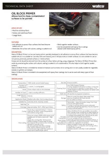 Data Sheet: Oil Block Primer