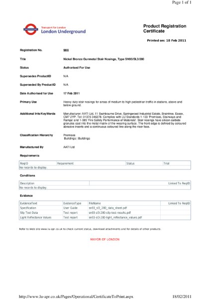 AATi certificate for product ref: SN93/SL3/280